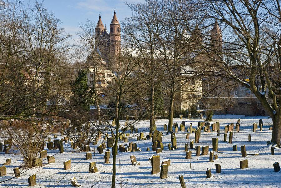 Judenfriedhof mit Blick auf den Wormser Dom