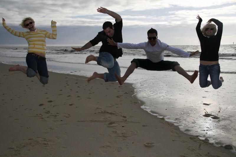 jumpin on the beach