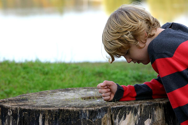 Junge am Baumstamm