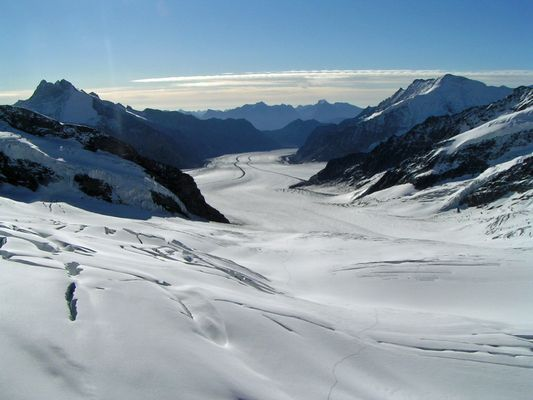 Jungfraujoch - Top of Europe im Sommer.