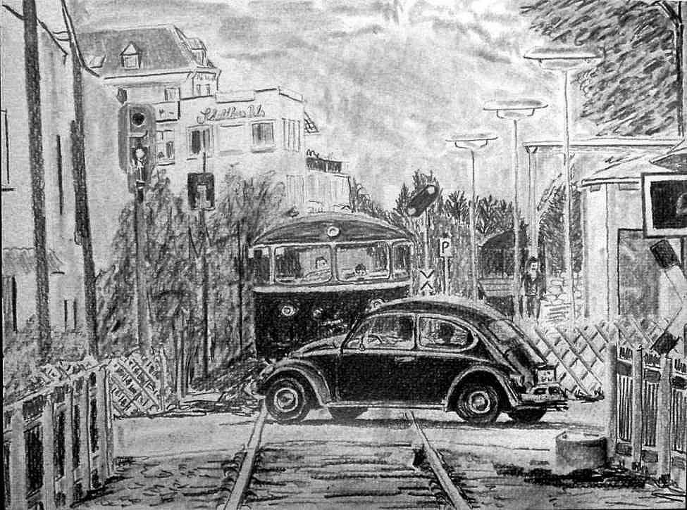 Käfer und Schienenbus