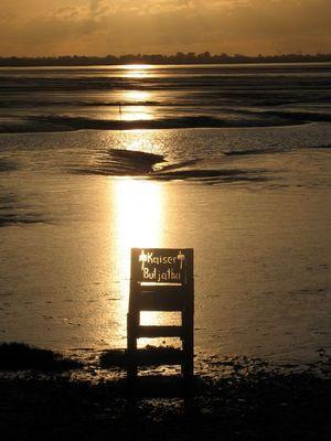 Kaiser Butjatha Stuhl am Strand von Dangast am Jadebusen