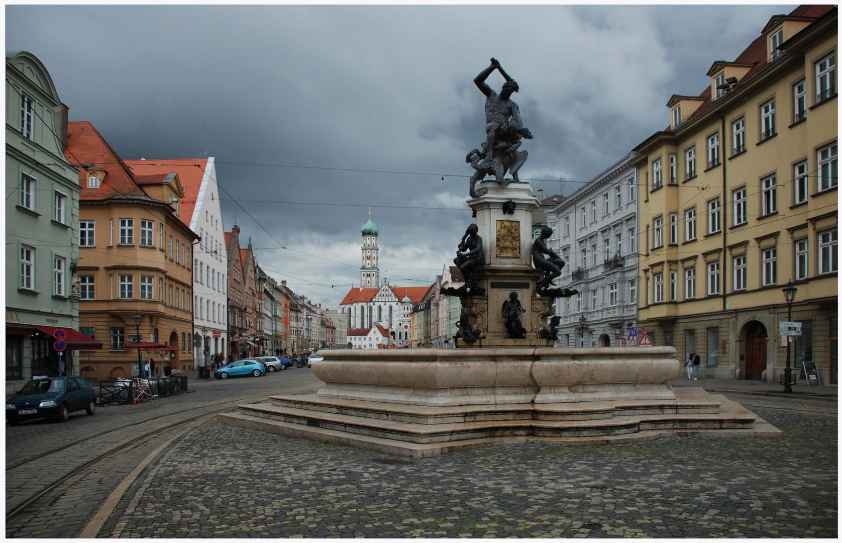 Kaisermeile mit Herkulesbrunnen in Augsburg,