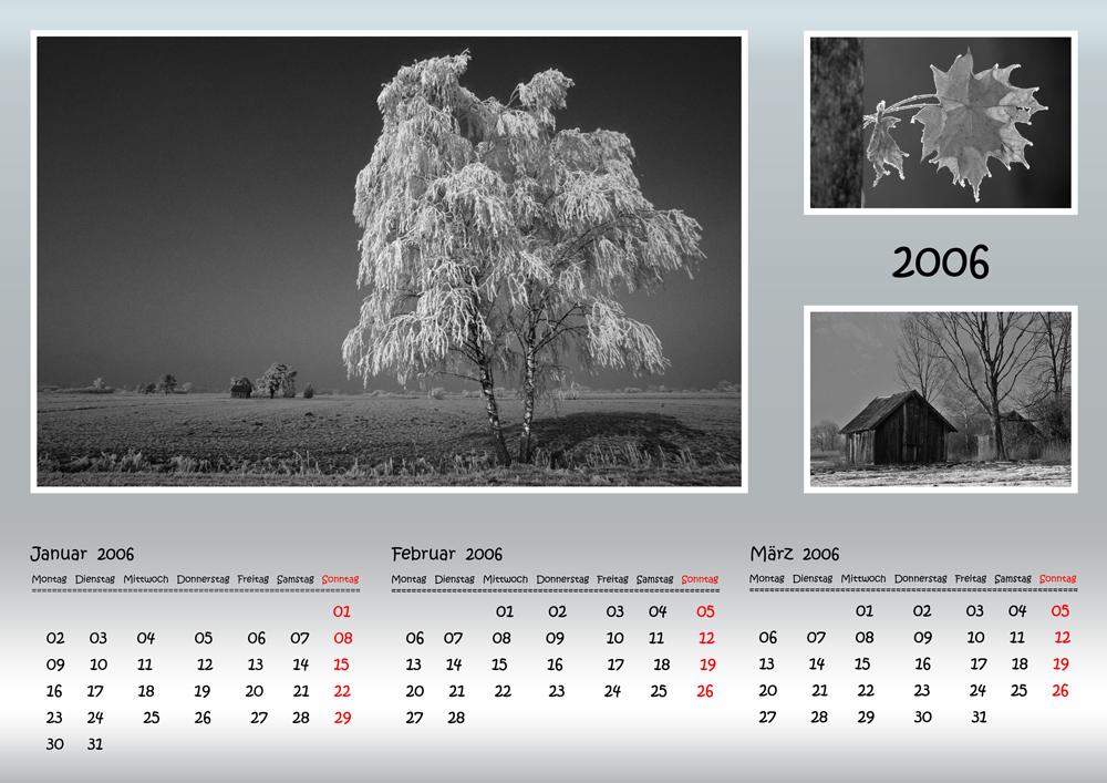 Kalender in Schwarz-Weiss, Quartal 1