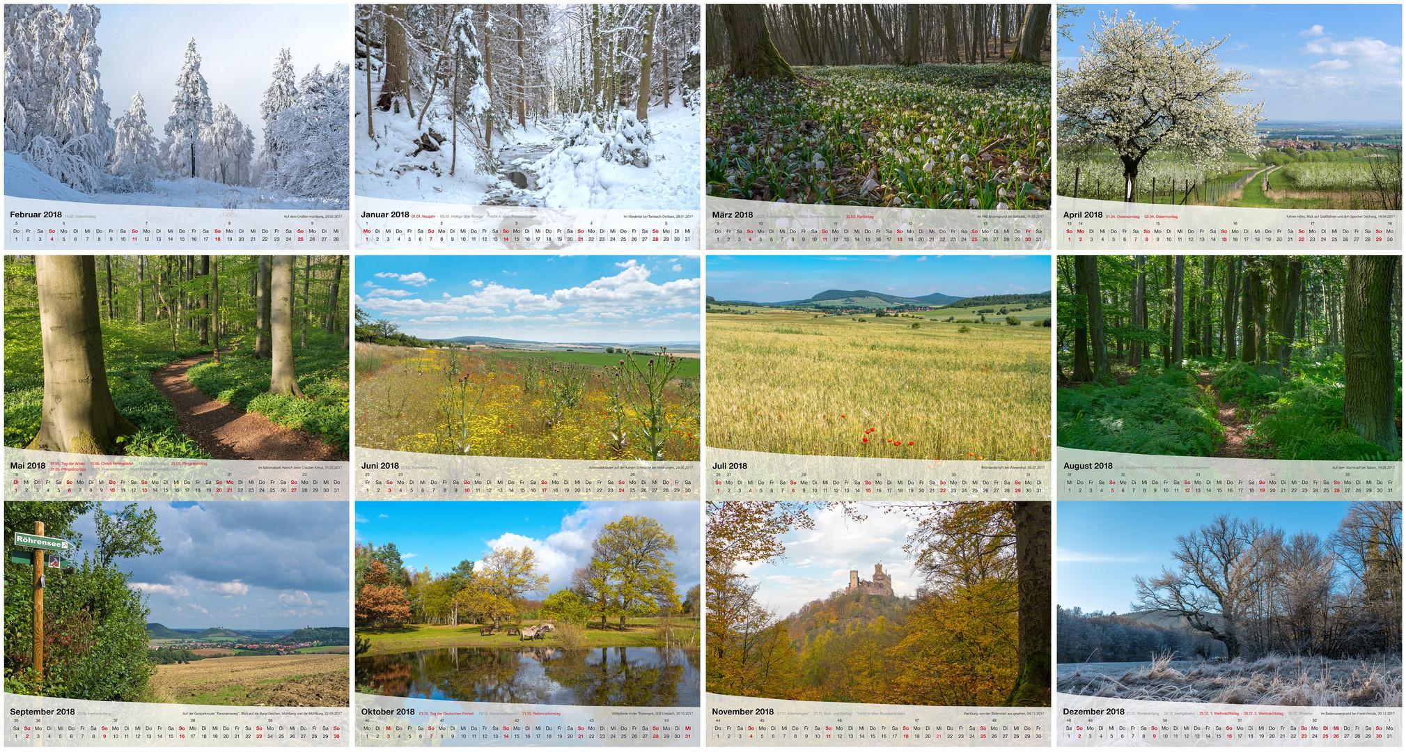 Kalender Thüringer Landschaften 2018 - 12 Monate