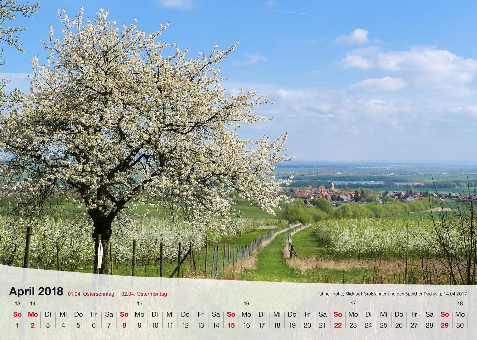 Kalender Thüringer Landschaften 2018 April