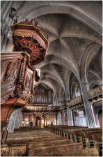 Kanzel- und Orgelansicht der St.-Marien-Kirche Wittstock/Dosse