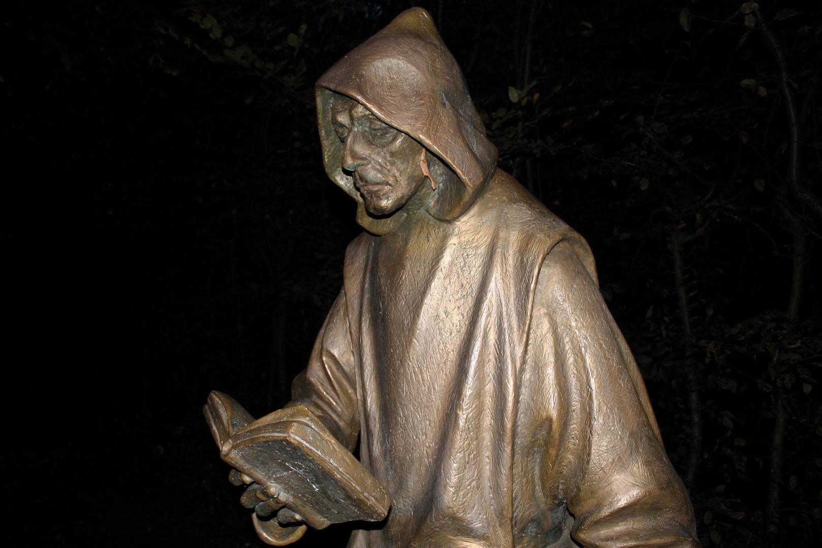 Kartäuser Mönch in Düsseldorf-Unterrath schreitet durch die Nacht