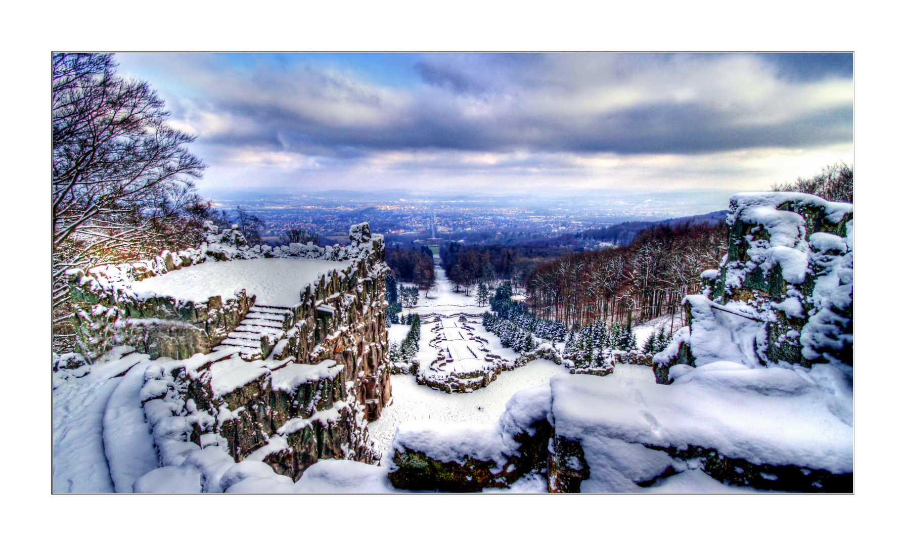 Kassel - Blick vom Herkules  - Herkulesblick im Winter