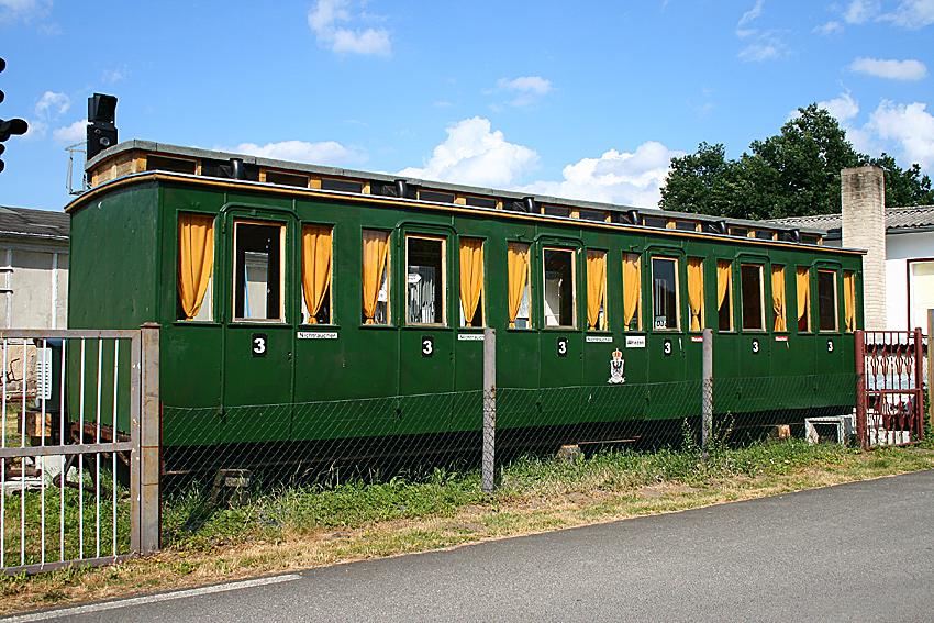Kasten eines preußischen Abteilwagens im Eisenbahnmuseum Letschin