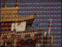 Kathmandu Hinter Glas gerahmter Thangka im Devotionalienverkauf eines Tempels