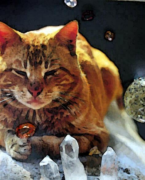 Katze und Kristalle