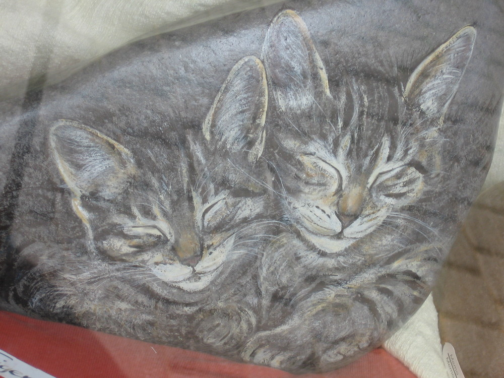 katzen auf stein gemalt foto bild natur tiere youth bilder auf fotocommunity. Black Bedroom Furniture Sets. Home Design Ideas
