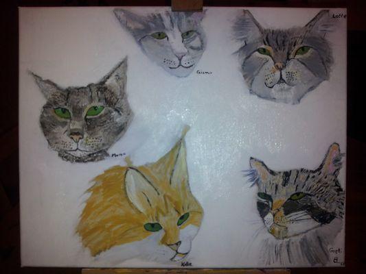 Katzen in Acryl auf Leinwand
