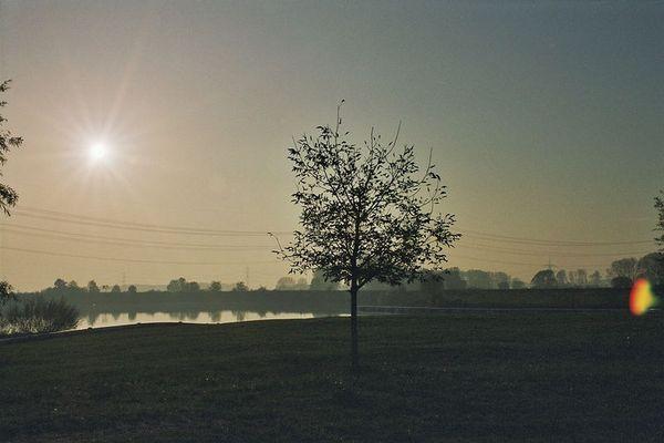 Kiesgrube im Sonnenuntergang