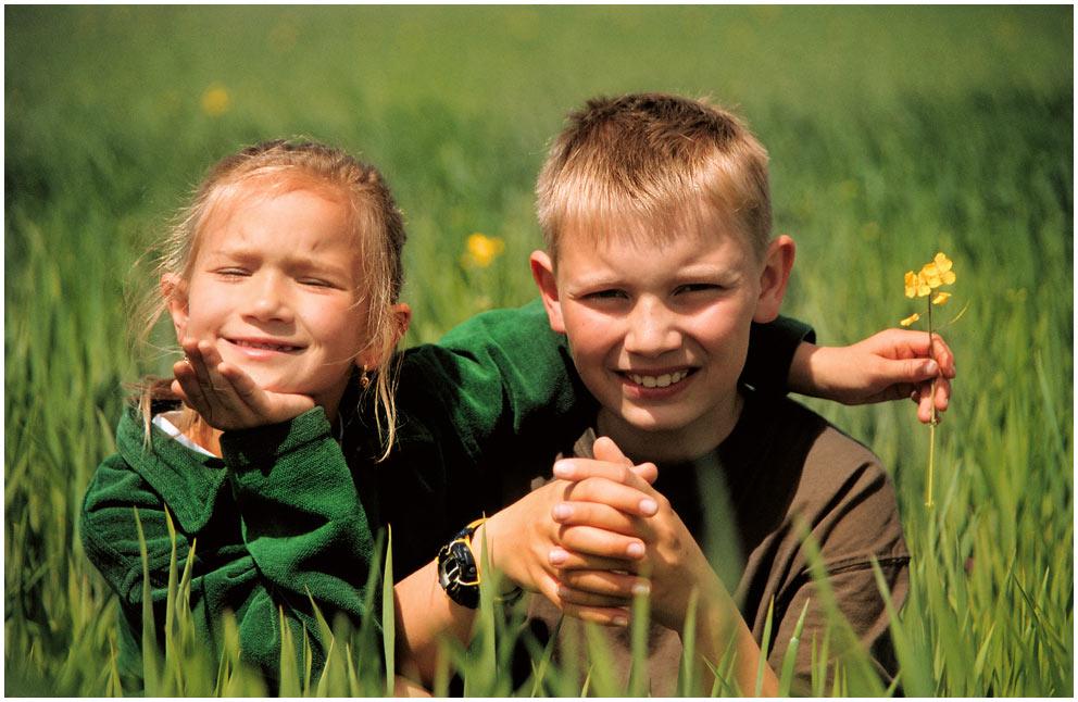 Kinder im Kornfeld