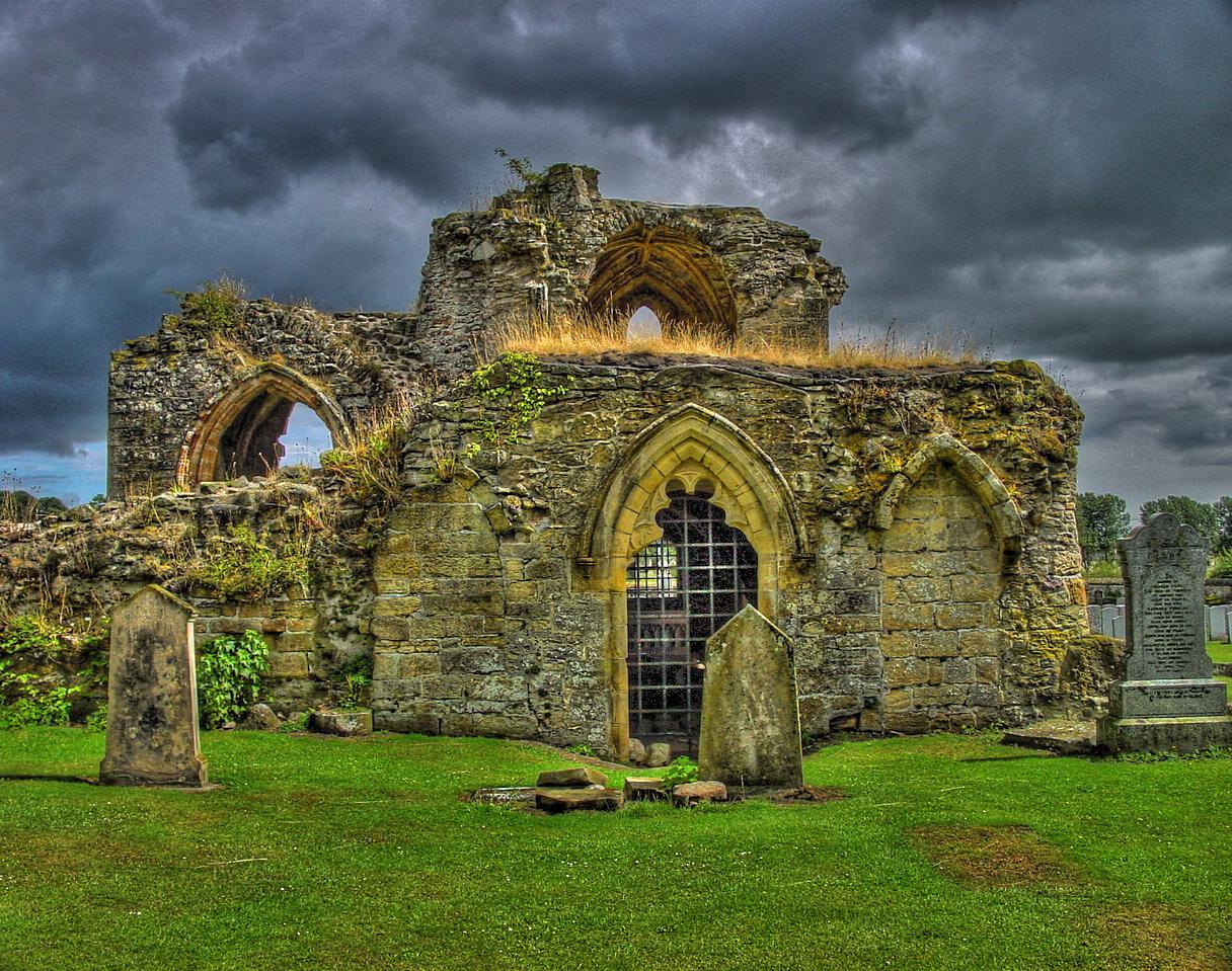 Kinloss Abbey in dark mood