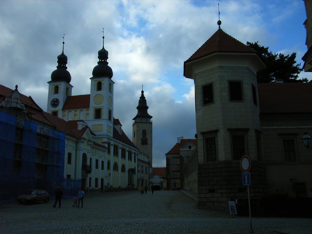 Kirche am Platzeingang von Teljc, Mähren,Tschechische Republik