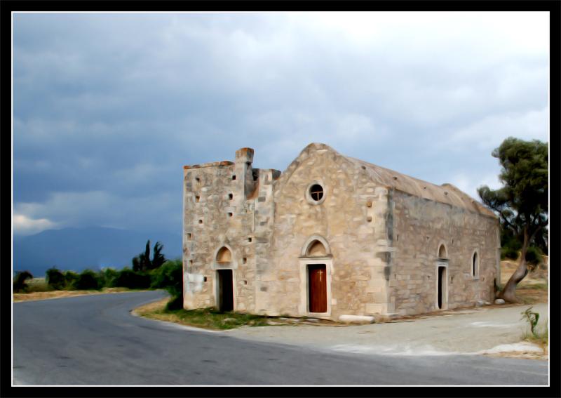 Kirche am Straßenrand auf Kreta