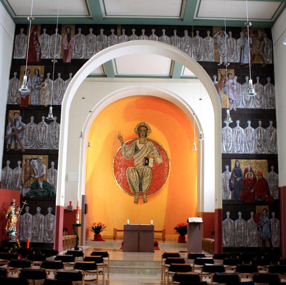 Kirche im Benediktinerkloster am Jakobsberg auch hier Pilgerstation vom JW