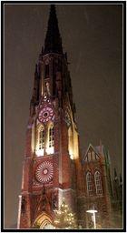 Kirche in Bremerhaven bei Nacht im Schnee