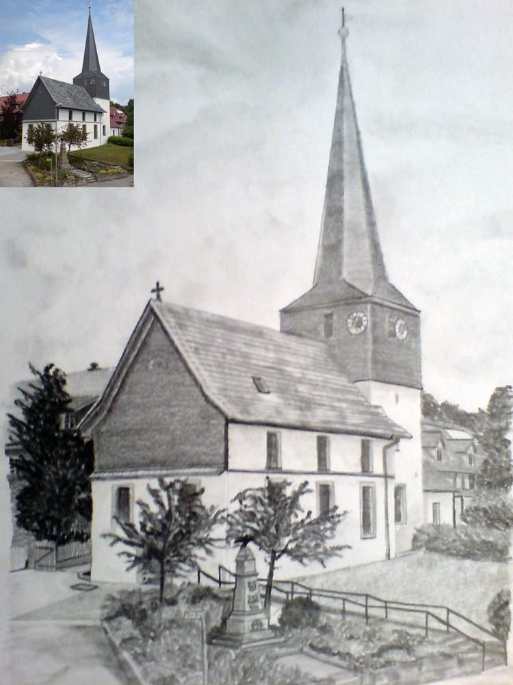 Kirche meines Heimatortes-Bleistiftzeichung