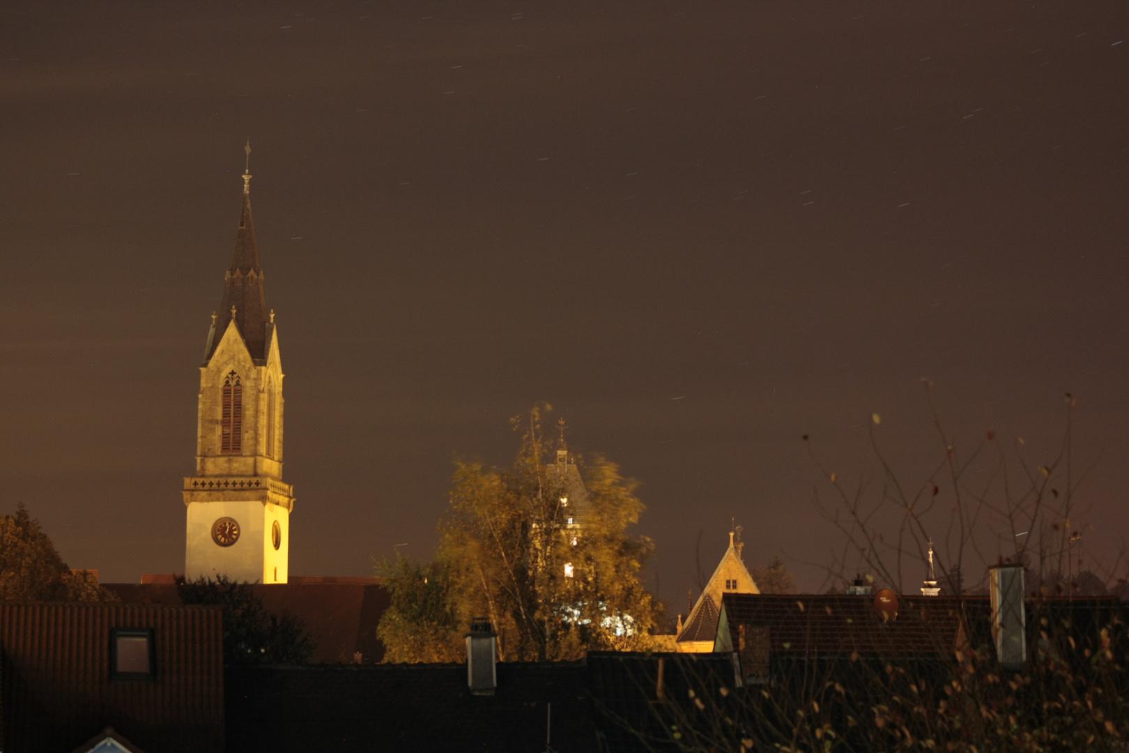 Kirchturm Bretten bei Nacht