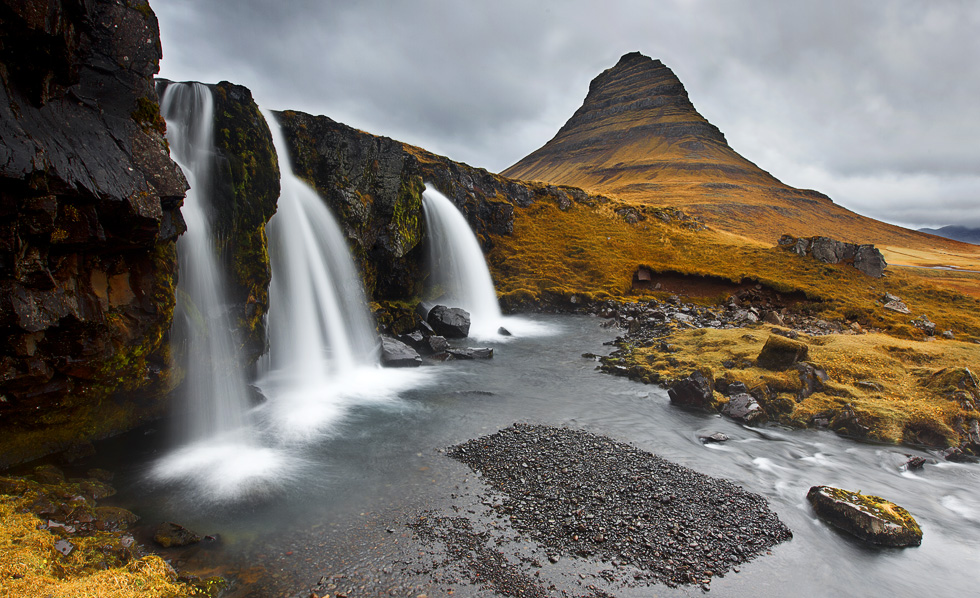 .: Kirkjufell and Kirkjufellsfoss in Autumn :.