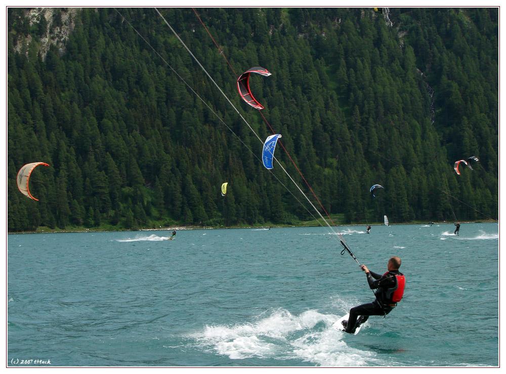 Kite-Surfing auf dem Silvaplanasee, 2