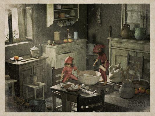 Kleine Helfer in Oma`s Küche
