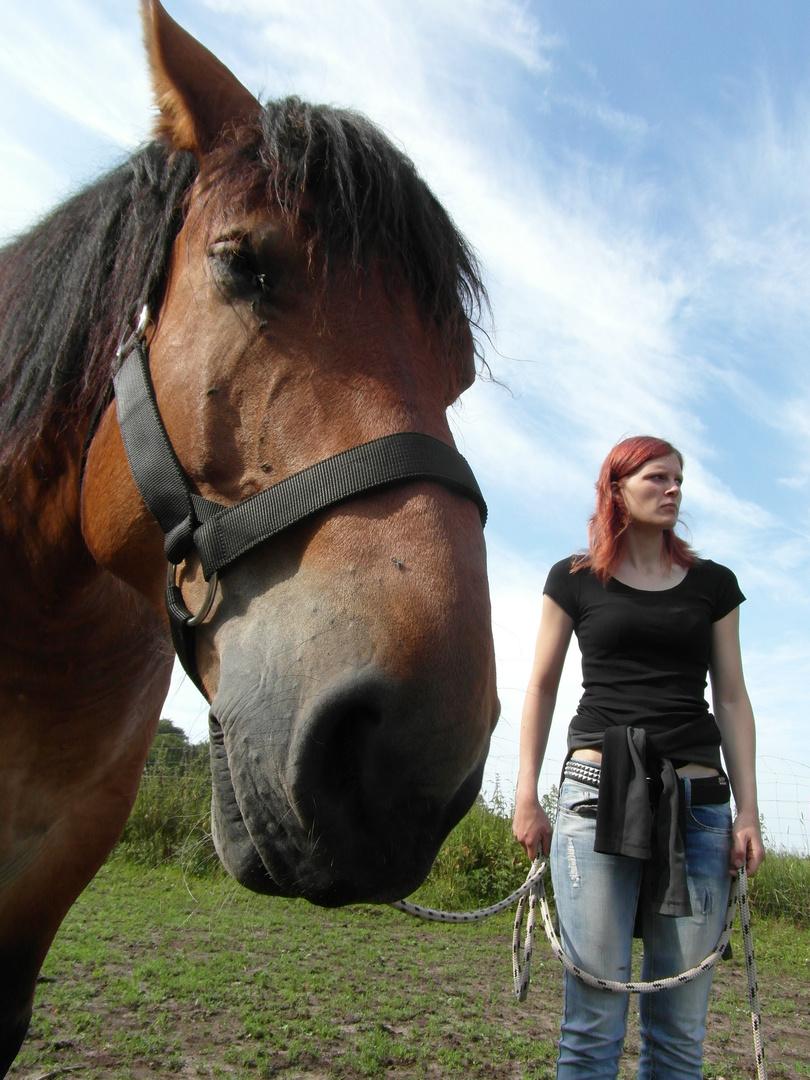 Kleiner Mensch , Großer Pferdekopf