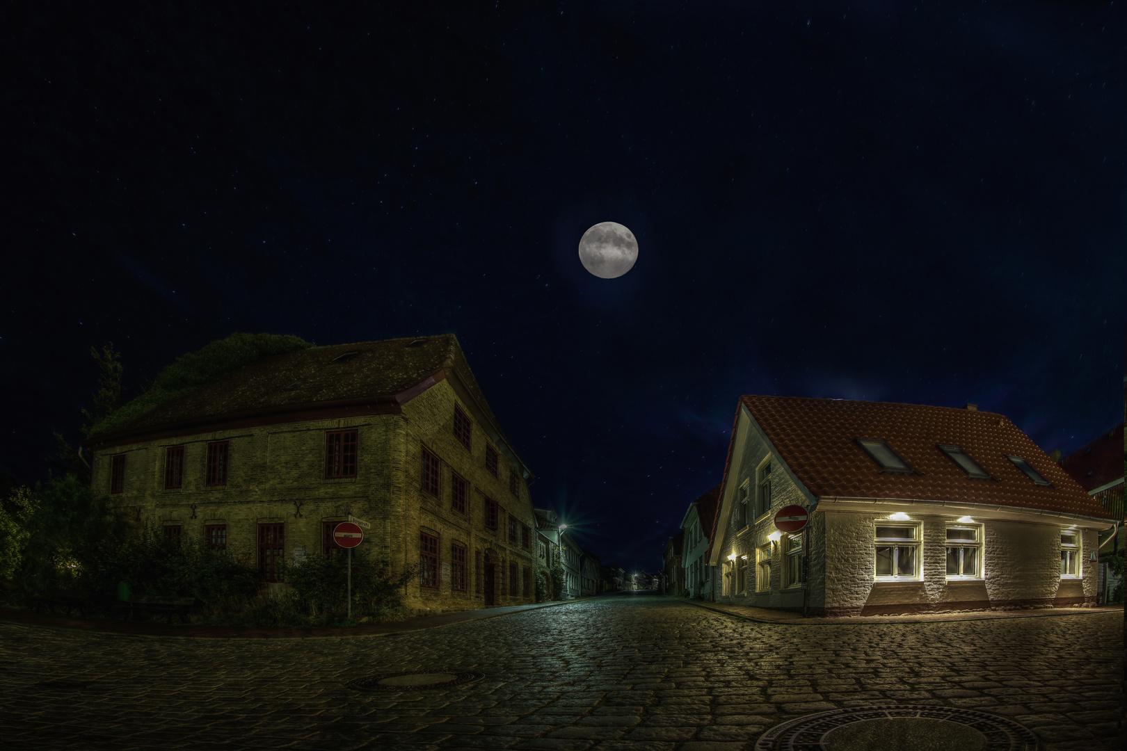 Kleinstadt in Mondnacht