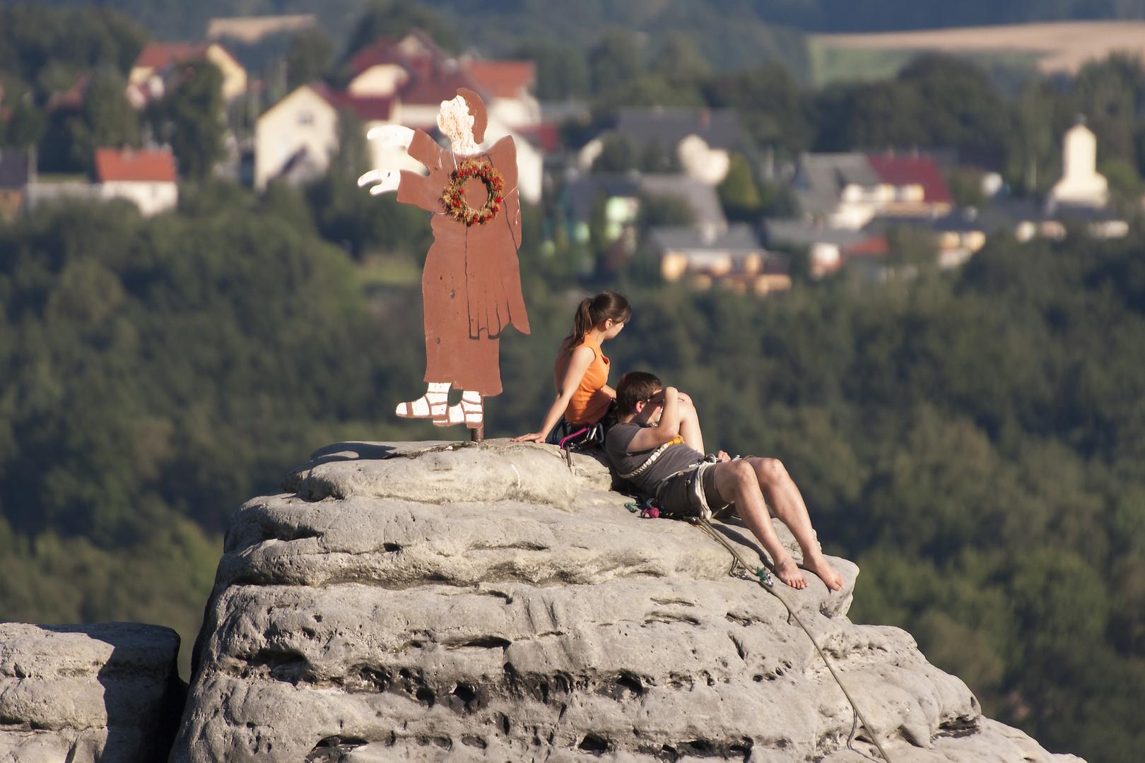 Kletterer im Elbsandsteingebirge