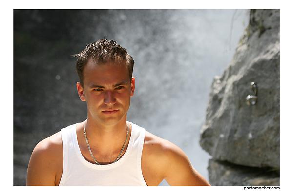 Kletterwand am Wasserfall