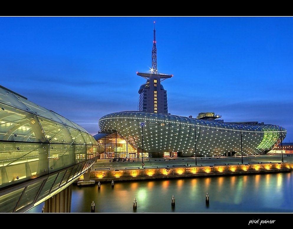 Klimahaus bremerhaven foto bild architektur architektur bei nacht nachtschicht bilder auf - Architektur bremerhaven ...