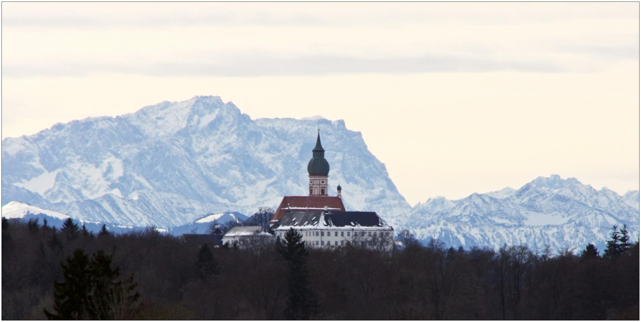 kloster andechs vor der zugspitze