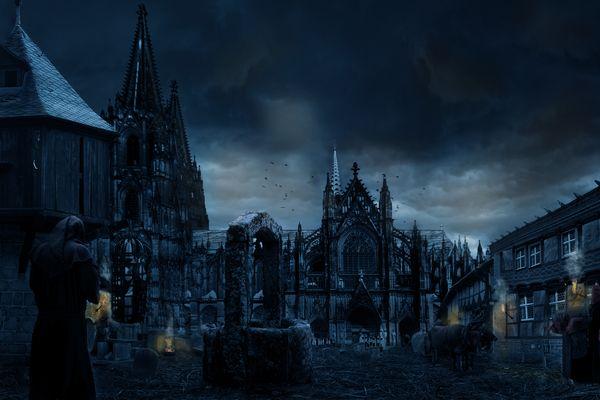 Köln-Mittelalter --Dämmerung