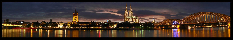 Köln-Panorama am Abend