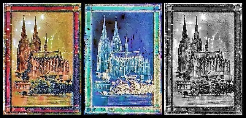 Kölner Dom im Glasfenster