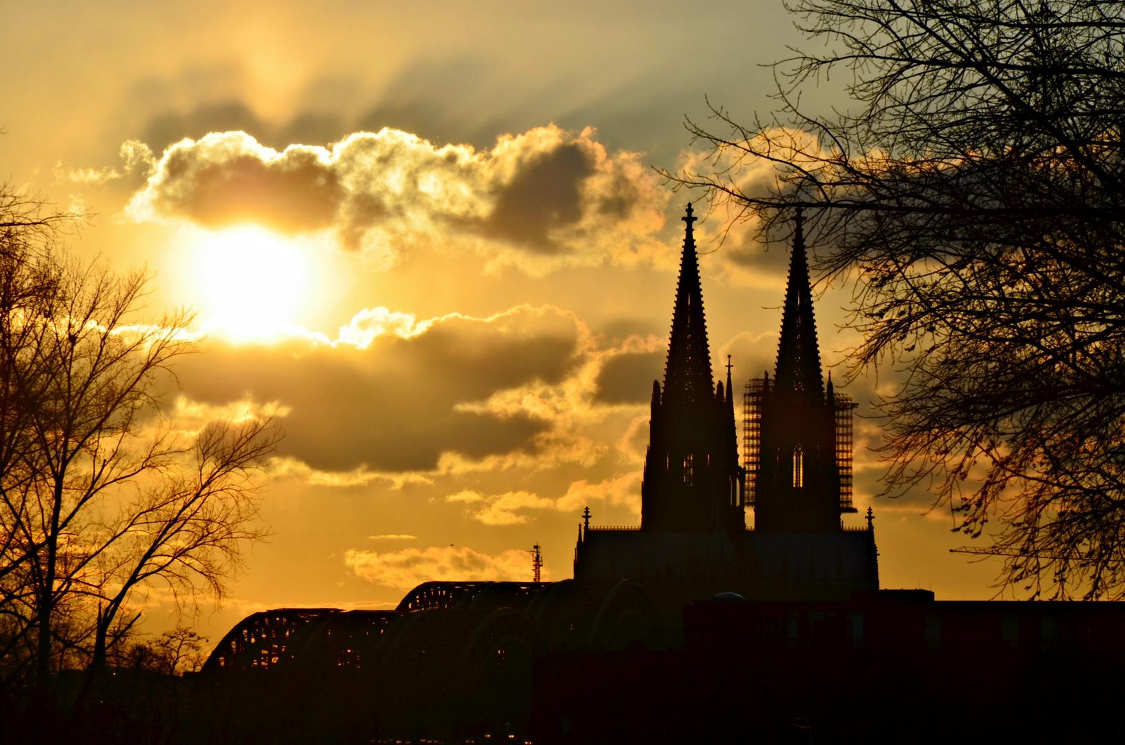 Kölner Dom im Sonnenuntergang 2013