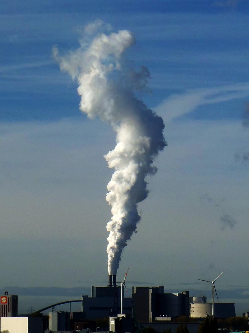 Kohlekraftwerk HH-Moorburg im kalten Herbst