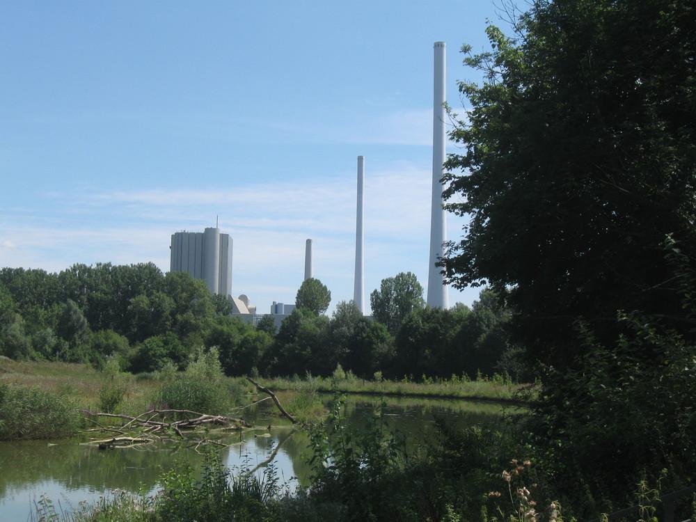 Kohlekraftwerk und Naturschutzgebiet