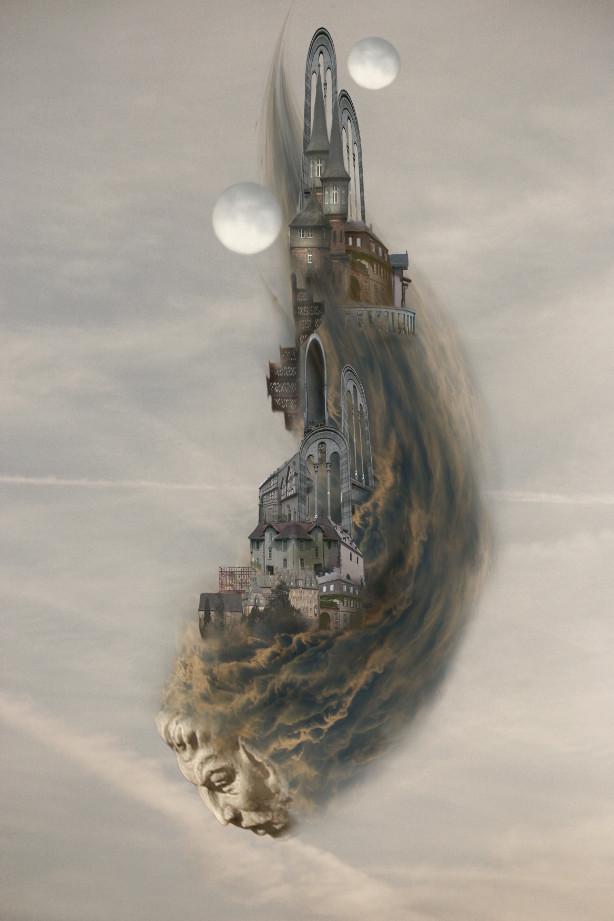 Kopf in den Wolken