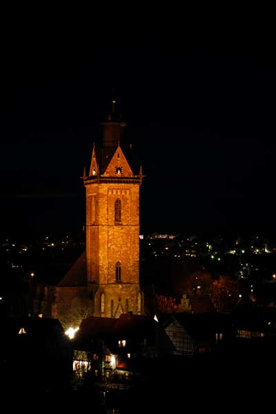Korbach, Kilianskirche bei Nacht