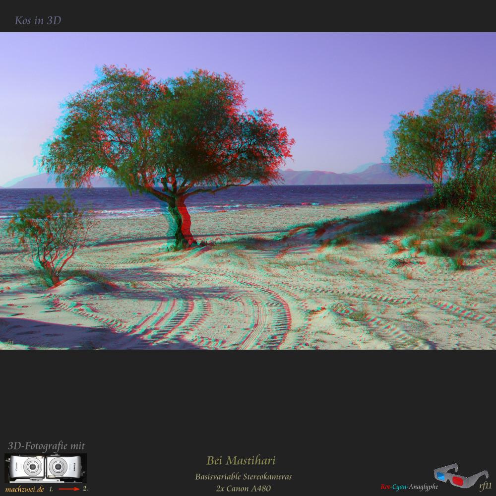 Kos in 3D: Strand bei Mastihari - Anaglyphe VollHD