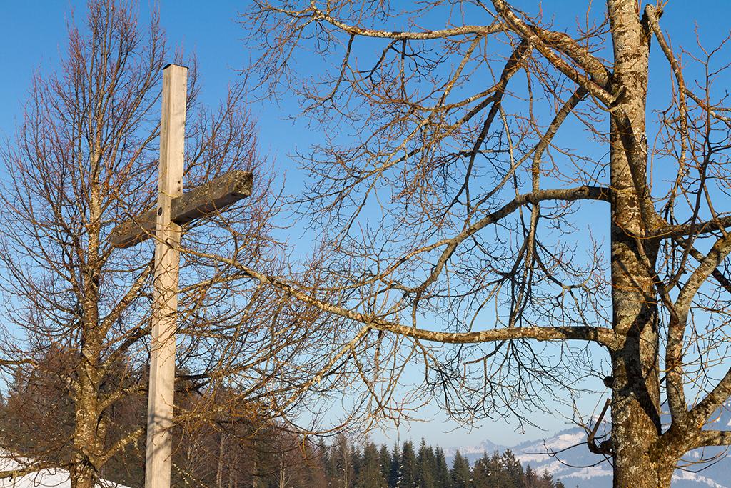 Kreuz mit Bäumen