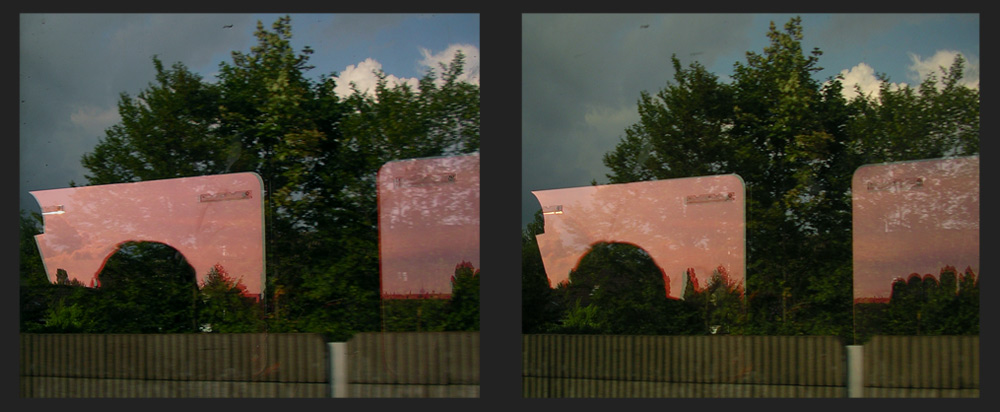 Kreuzblick-3D mit Pseudoanaglyphen-Intarsie