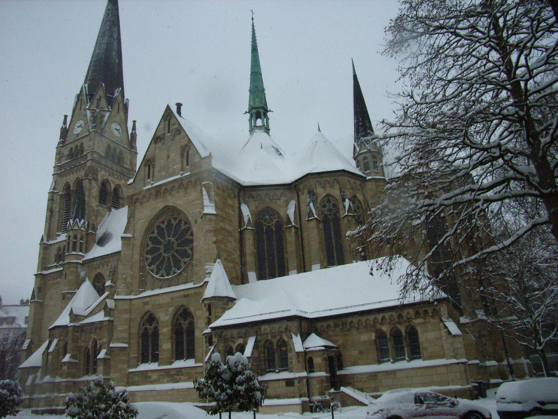 Kreuzkirche Münster im Schnee-Dezember 2010