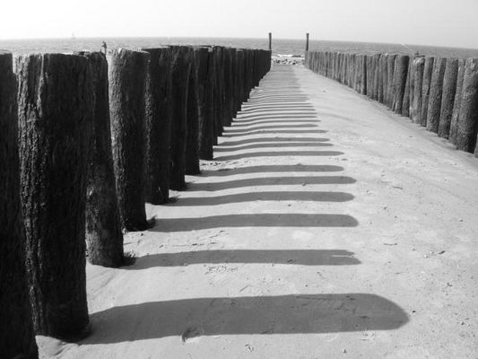 Kribben, Schatten, Meer, Sand