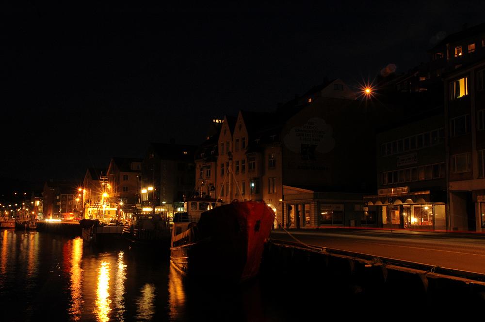 Kristiansund harbour by night